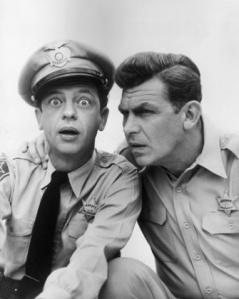 Barney Fife and Andy Griffith from The Andy Griffith Show