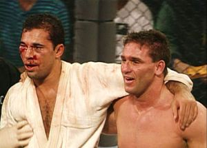 UFC 1's Royce Gracie (Left) and Ken Shamrock (right)