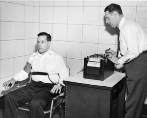 Joe Larson administering a Lie Detector test