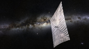 Artist's concept of LightSail backdropped by the Milky Way galaxy. Credit: The Planetary Society