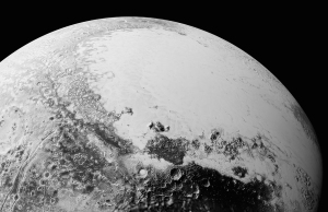 This synthetic perspective view of Pluto, based on the latest high-resolution images to be downlinked from NASA's New Horizons spacecraft, shows what you would see if you were approximately 1,100 miles (1,800 kilometers) above Pluto's equatorial area, looking northeast over the dark, cratered, informally named Cthulhu Regio toward the bright, smooth, expanse of icy plains informally called Sputnik Planum. The entire expanse of terrain seen in this image is 1,100 miles (1,800 kilometers) across. The images were taken as New Horizons flew past Pluto on July 14, 2015, from a distance of 50,000 miles (80,000 kilometers). Credits: NASA/Johns Hopkins University Applied Physics Laboratory/Southwest Research Institute
