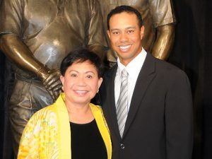ANAHEIM, CA - JANUARY 21: Kultida Woods and Tiger Woods at the dedication of the statue honoring his father Earl Woods at the Tiger Woods Learning Center on January 21, 2008 in Anaheim, California. (Photo by Lester Cohen/WireImage)